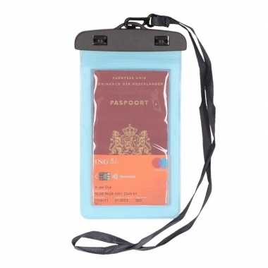2x waterdicht documententasje/ waardvolle spullen hoesje blauw