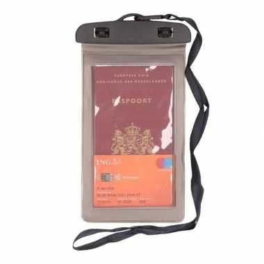 2x waterdicht documententasje/ waardvolle spullen hoesje grijs
