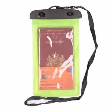2x waterdicht documententasje/ waardvolle spullen hoesje groen