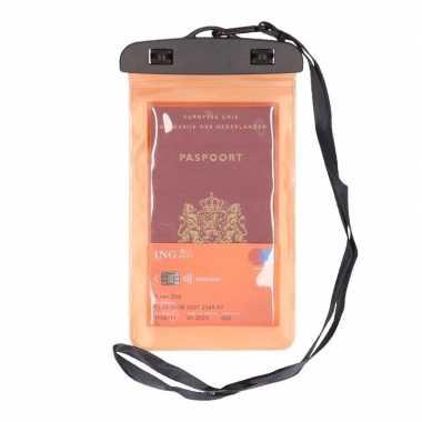 2x waterdicht documententasje/ waardvolle spullen hoesje oranje