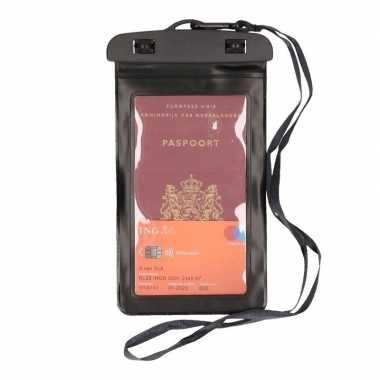 2x waterdicht documententasje/ waardvolle spullen hoesje zwart