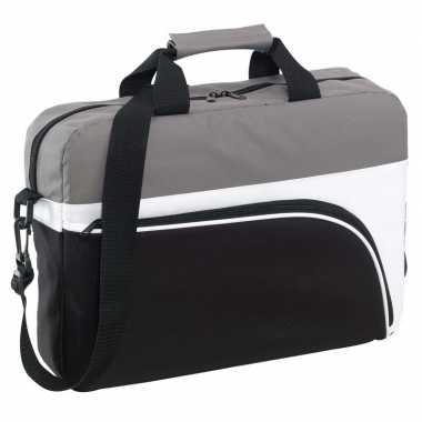 Documententas/laptoptas zwart/grijs 40 x 10 x 30 cm