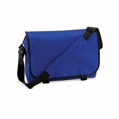Fel blauwe messenger documententas met schouderband