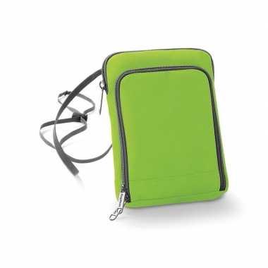 Lime groen documententasje 19 x 14 cm