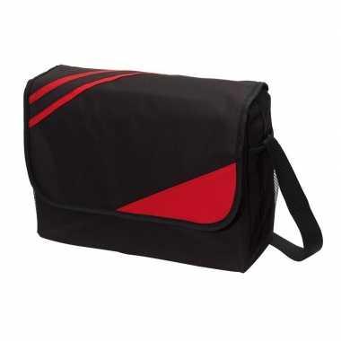 Schoudertas/documententas/werktas zwart/rood 39 x 28 x 11 cm